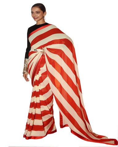 Deepika Padukone In Designer Sabbyasacchi Red & White Stripey Saree