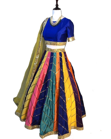 Eye-Catching Multi Colored Festive Wear Woven Taffeta Silk Lehenga Choli