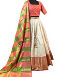 Multi And Cream Colored Festive Wear Woven Banarsi Silk Lehenga Choli