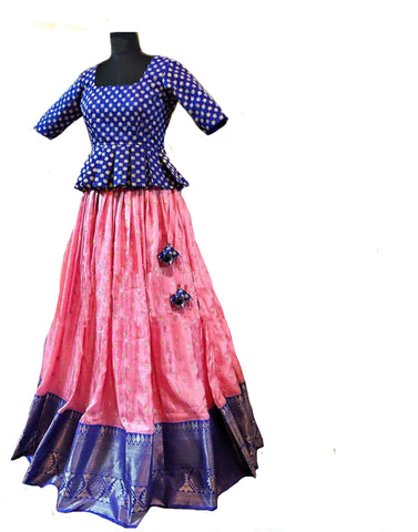 Blue And Pink Colored Festive Wear Woven Banarsi Silk Lehenga Choli