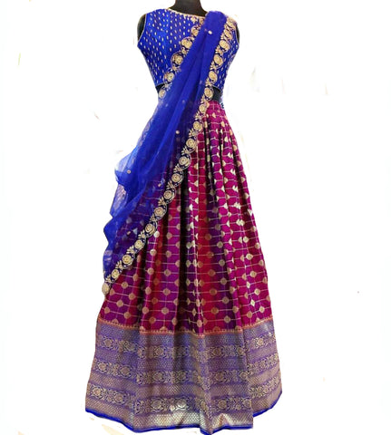 Blue And Dark Purple Colored Festive Wear Woven Banarsi Silk Lehenga Choli