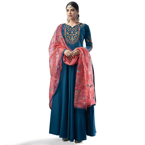 Jzzy Teal Blue Colored Party Wear Embroidered Cotton Anarkali Suit