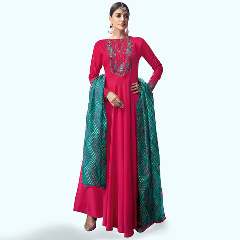 Adorable Deep Pink Colored Party Wear Embroidered Cotton Anarkali Suit