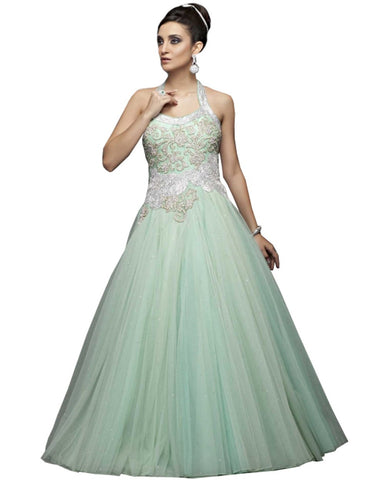 Designer Sea Green Party Gown