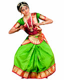 Bharatnatyam Green Color Dance Costume