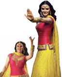 Preity Zinta Yellow Pink Embroidered Lehnga