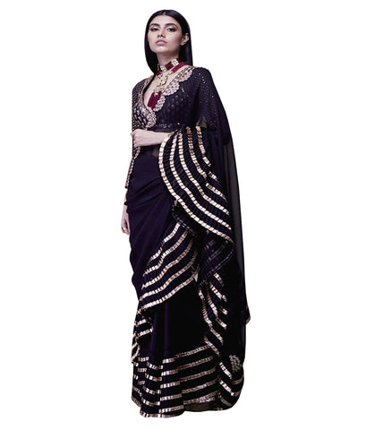 Black mirror work ruffled saree