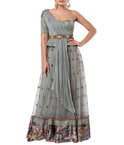 Grey Embroidered Lehenga Set with A Center Waist Belt