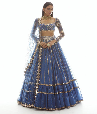DULL BLUE LINEAR DROP TIER LEHENGA CHOLI