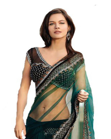 Green Embellished Saree