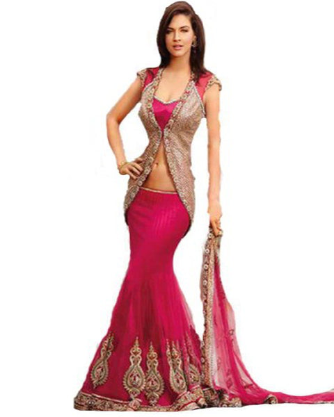 Pink Lehnga With Coat