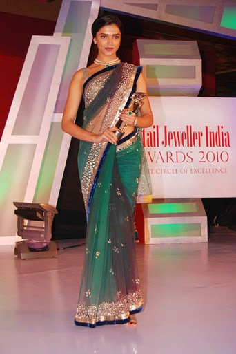 Deepika Ombre Dyed Green Net Saree