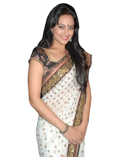 Sonakshi White Gold Bootie Saree