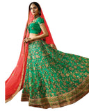 Designer Rama Green Color Lehenga Choli