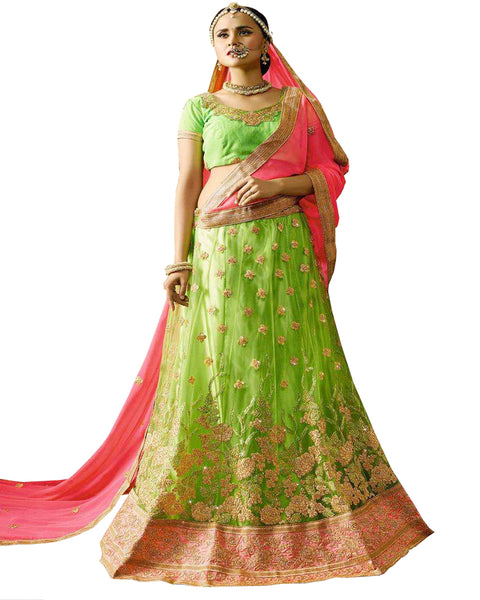 Designer Pista Green Color Lehenga Choli