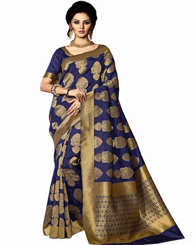 Navy Color Banarasi silk saree