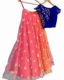Designer Peach-Blue Color Lehenga Choli