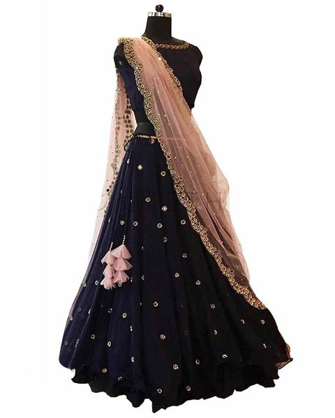 Designer Navy Blue Color Lehenga Choli