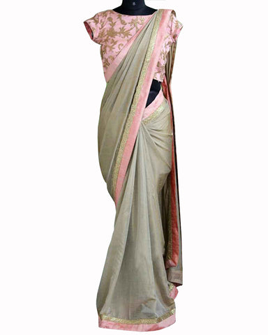 Designer Work Grey  Color Saree