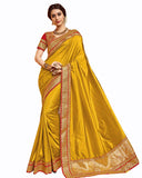 Goldren-Orange Color Banarasi silk saree