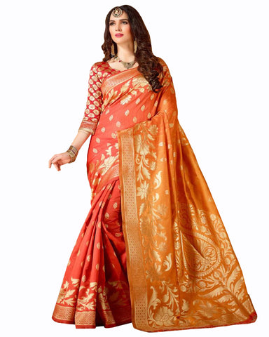 Sunshine Orange Color Banarasi silk saree