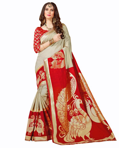 Red-Beige Color Banarasi silk saree
