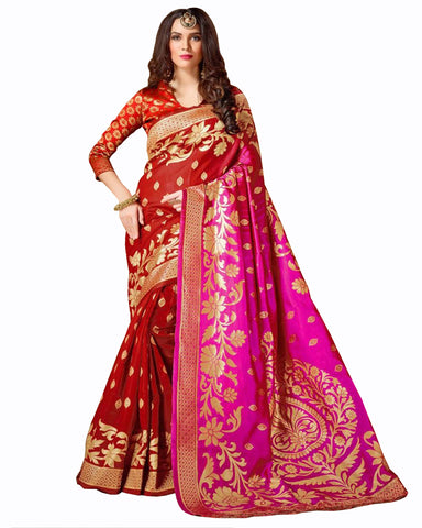 Red- pink Color Banarasi silk saree