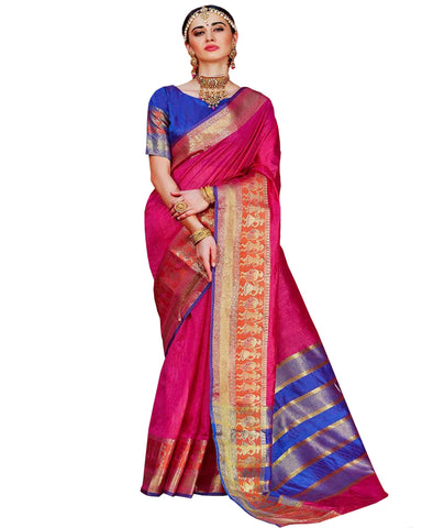 Kanchivaram Silk Saree In Pink And Blue Colour