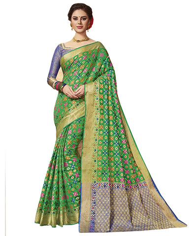 Kanchivaram Silk Saree In Green And Blue Colour