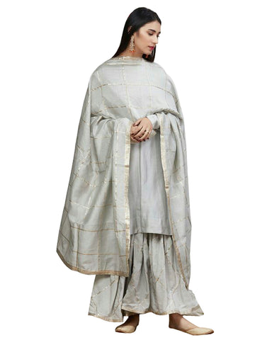 Light Grey Gotta Embroidered Silk Kurta