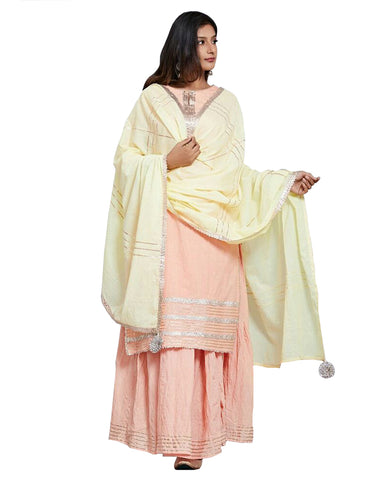 Peach Gota Embroidered Cotton Kurta