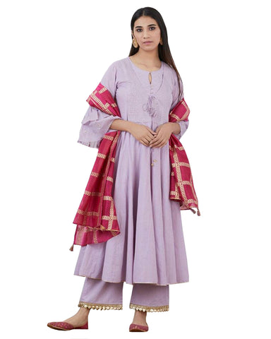 Light Purple Cotton Anarkali Kurta