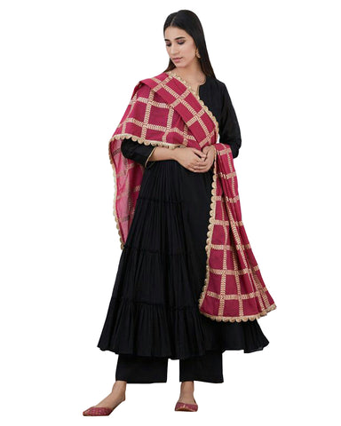 Black Color Cotton Designer Suit