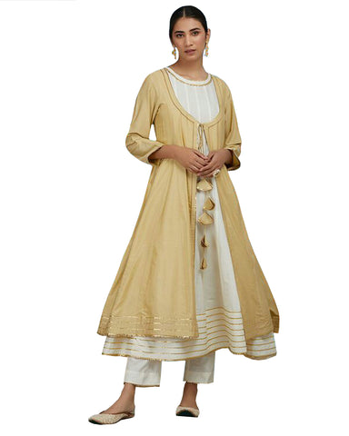 Gold & White Color Gotta Cotton Anarkali Suit
