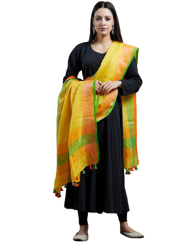 Black Color Rayon Suit With Yellow Linen Dupatta