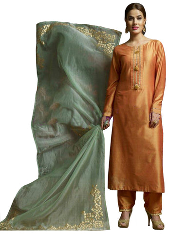 Orange & Grey Color Silk Palazzo Suit