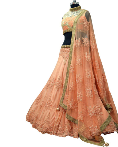 Trendy Peach Net Embroidery Work Circular Lehenga Choli