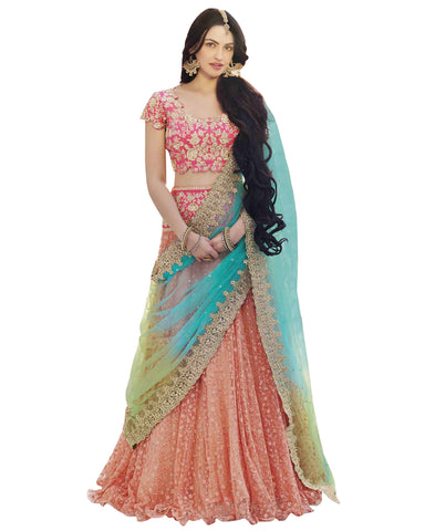 Peach Frilled Edge Net Lehenga Choli