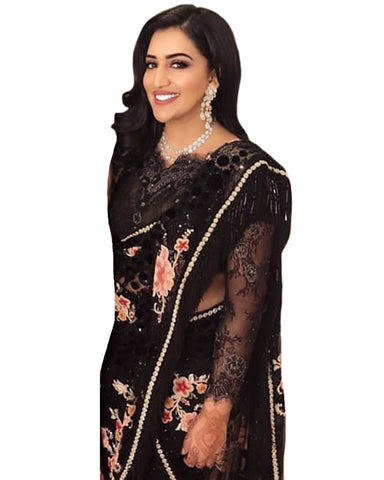 Trendy Black Color Net Saree