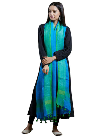 Black Color Rayon Suit With Blue Linen Dupatta