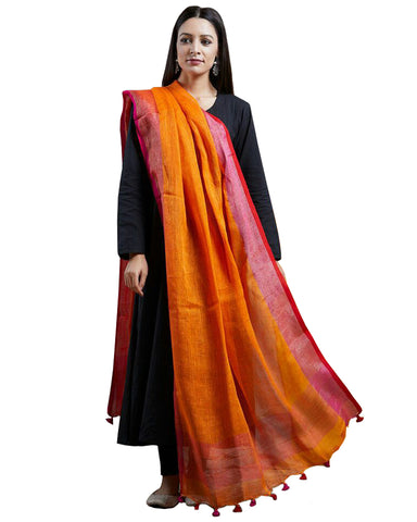 Black Color Rayon Suit With Orange Linen Dupatta