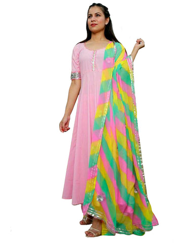 Pink Anarkali and Palazzo with Dupatta