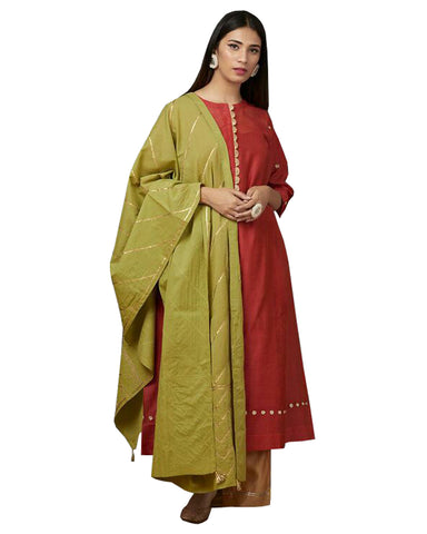 Rust Gotta Embroidered Chanderi Kurta