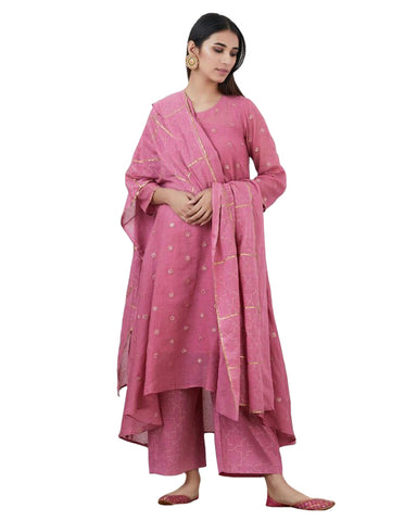 Light Pink Mirror Embroidered Cotton Kurta