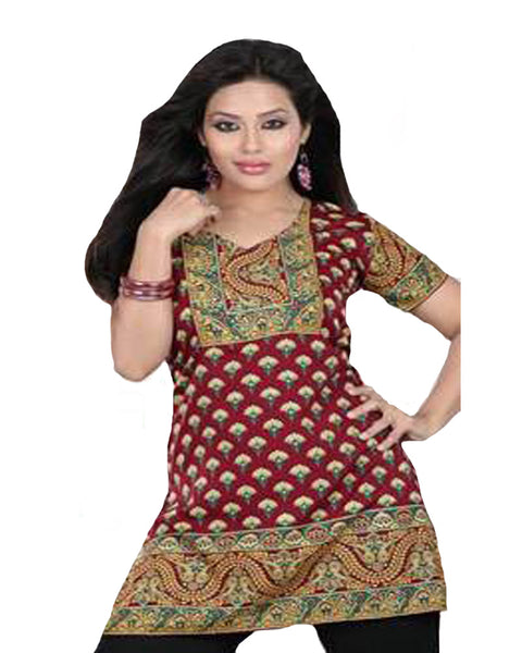Maroon Cotton Printed Designer Top