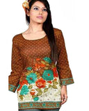 Cotton Printed Maroon Designer Top