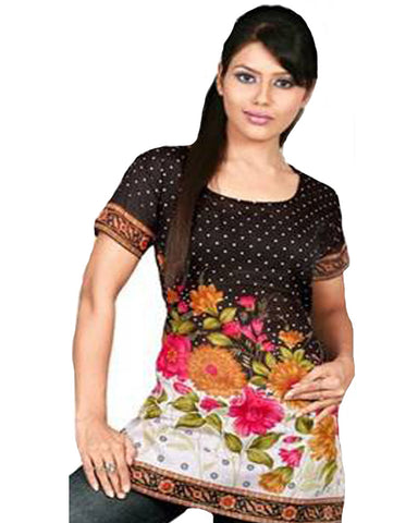 Black Cotton Printed Designer Top