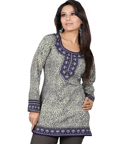 Blue Cotton Printed Designer Top