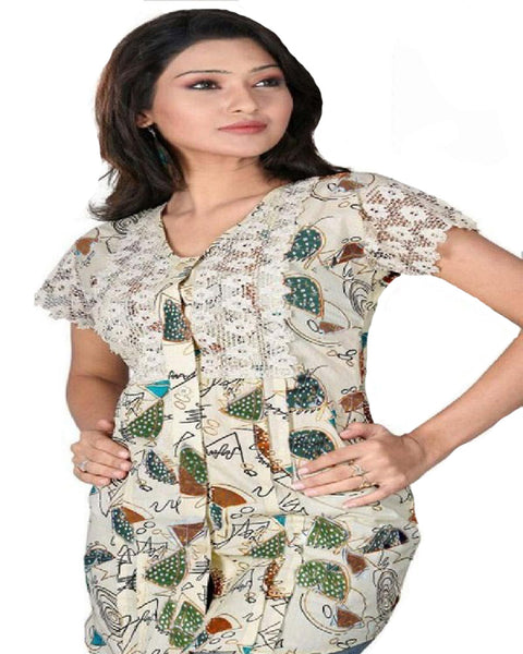 Printed Cream Cotton Fabric  Kurti