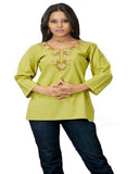 Green Cotton Silk Kurti